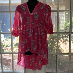 Pink Floral High Low Blouse